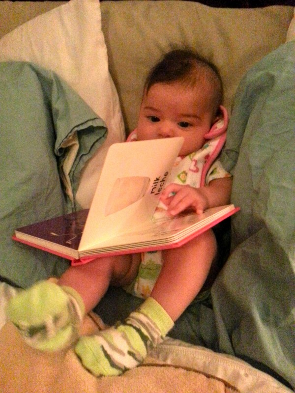 Reading herself a bedtime story