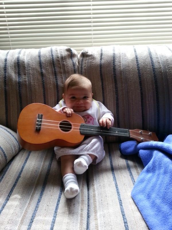 Playing a little diddy on the ukelele
