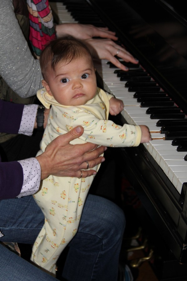 She's a quick study! Playing a duet with Aunt Lauren
