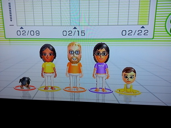 Tracking her growth by adding her to the Wii Fit family