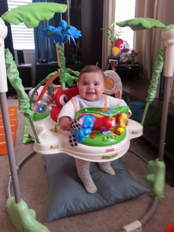 The jumparoo has become one of her favorite hangouts