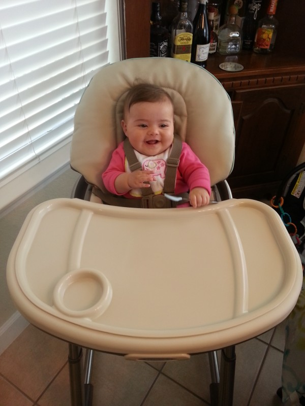 Ready to eat in a high chair like a big girl
