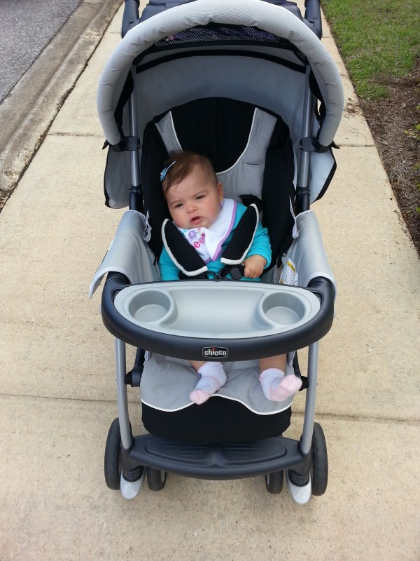 Riding in the stroller like a big girl too (though she doesn't seem to excited about it, haha)