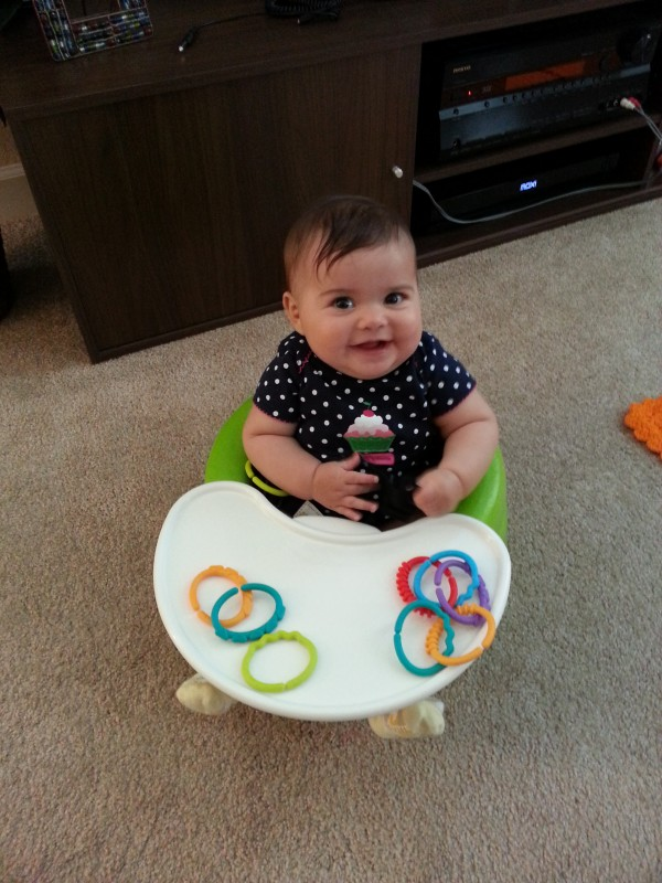With all the fancy toys she has, one of her favorites is still her little plastic rings
