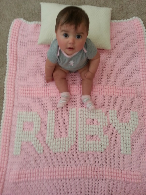 Awesome blanket made by her Aunt Terri