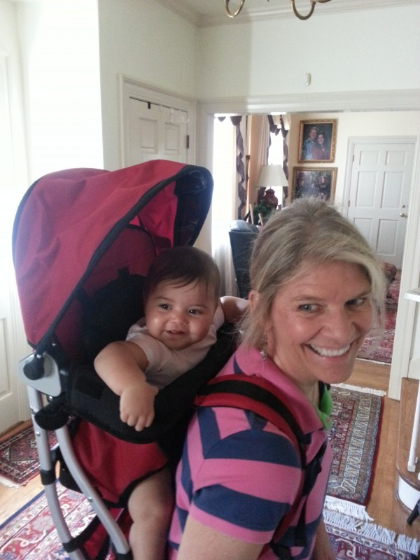 Upgrading from the Baby Bjorn to a full backpack and trying it out with BB