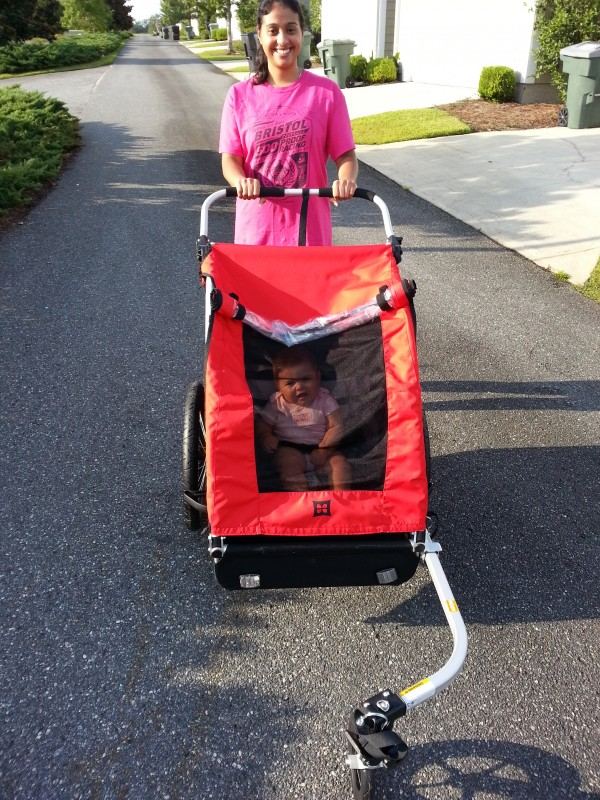 First outing using the trailer as a running stroller