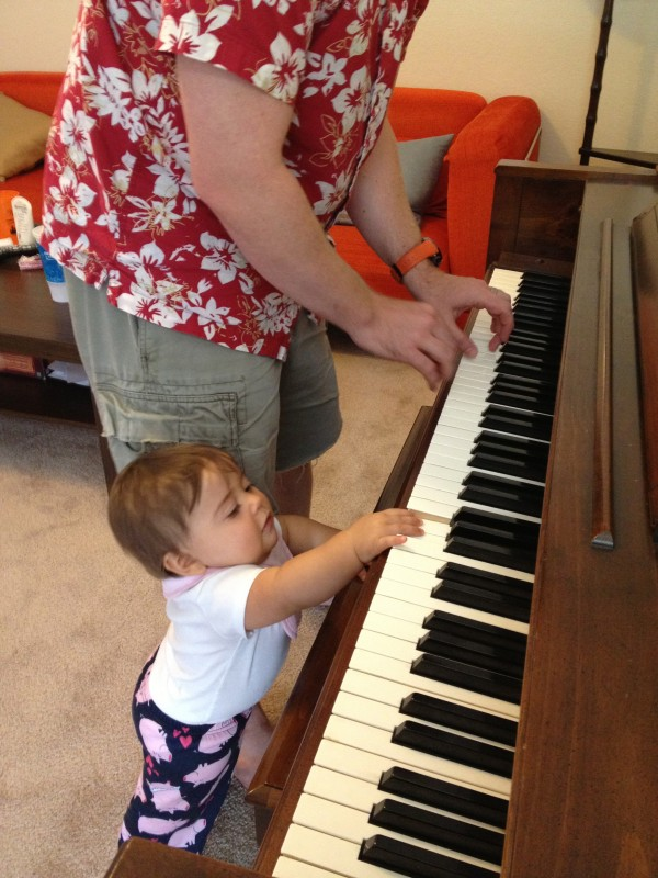 Playing a little duet with Dad