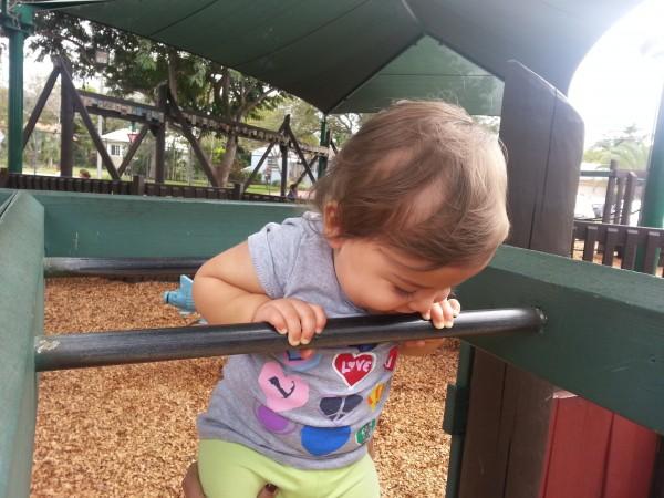 Pull-ups at the playground